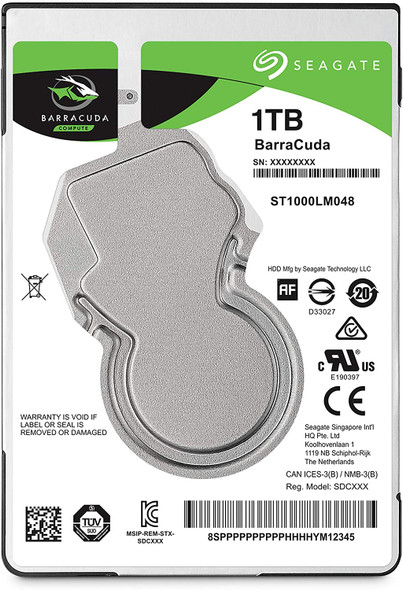Seagate BarraCuda 1TB Internal Hard Drive HDD – 2.5 Inch SATA 6 Gb/s 5400 RPM 128MB Cache for PC Laptop (ST1000LM048)