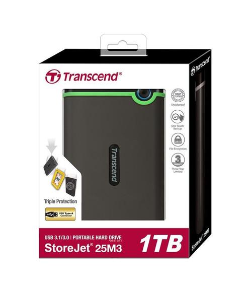 "Transcend Storejet 1T Portable USB 3.0 Hard Disk 2.5"" | TS1TSJ25M3S"