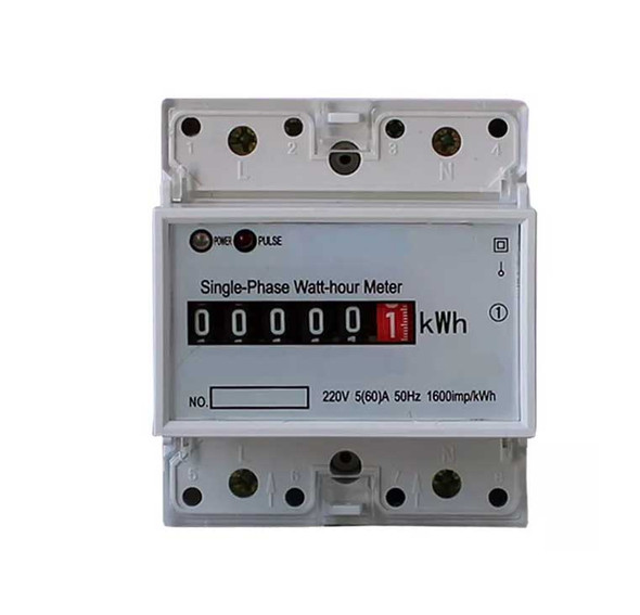 INDO 1P DDS788 Electric Power Meter 10(60)A 1600imp/kWH 1 Phase 2 Wire KWH Meter