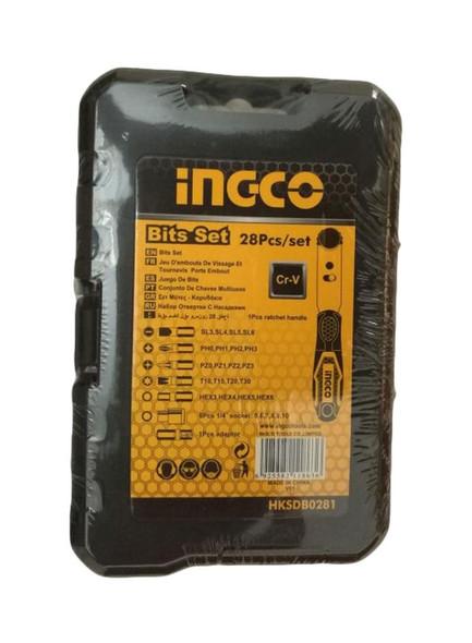 INGECO HKSDB0281 28-Piece Bit Set With Ratchet Handle Silver/Yellow