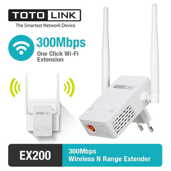 TOTOLINK EX200 N300 WiFi Range Extender Upto 300Mbps WiFi Extender, Repeater, WiFi Signal Booster, Access Point External Antennas & Compact Designed Internet Booster