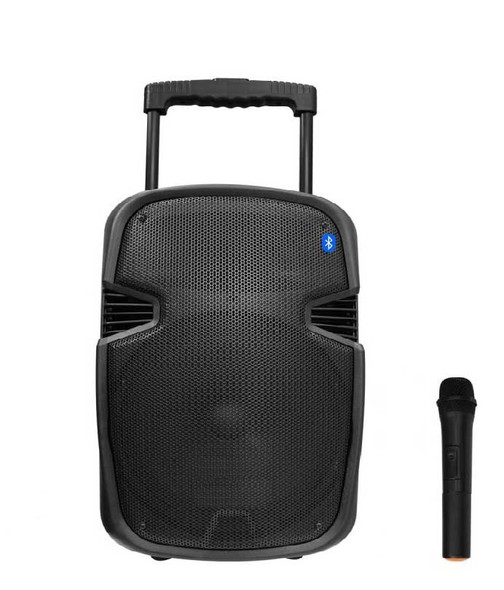 "Multimedia Trolley Bluetooth Speaker 12"" With USB Aux Input Wireless Microphone"