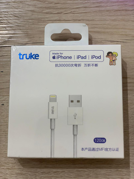 truke HX1002L, USB Type-A to Lightning Cable 120cm connects your iPhone, iPod or iPad with Lightning connector to your computer's USB port Your image was added to the product.