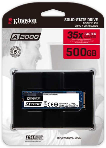 Kingston NVME 500GB A2000 M.2 2280 Internal SSD PCIe Up to 2000MB/S with Full Security Suite SA2000M8/500G