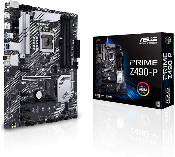ASUS Prime Z490-P LGA 1200 (Intel 10th Gen) ATX Motherboard (Dual M.2, DDR4 4600, 1 Gb Ethernet, USB 3.2 Gen 2 USB Type-A, Thunderbolt 3 Support, Aura Sync RGB)