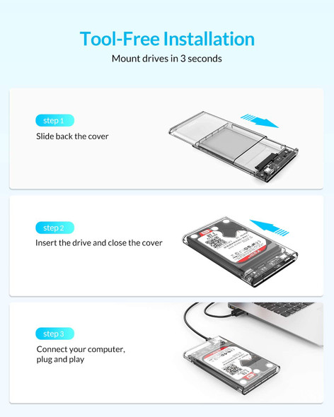 "2.5"" SATA to USB 3.0 Tool-Free External Hard Drive Enclosure Compatible with SSD - Transparent"