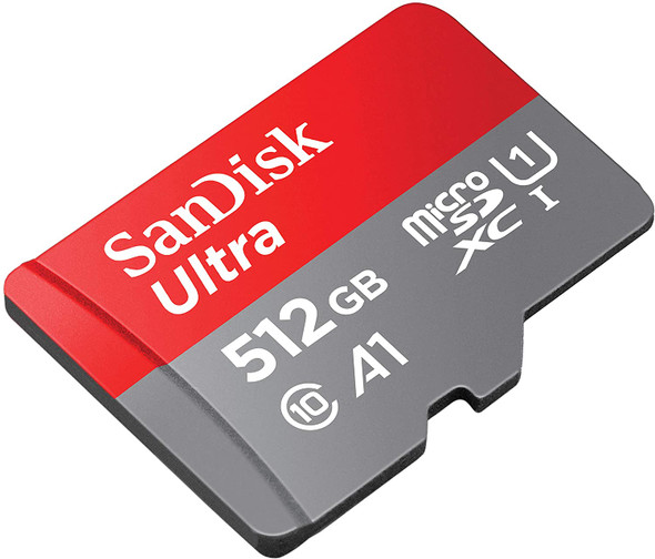SanDisk 512GB Ultra microSDXC U1, C10, A1, UHS-1, 100MB/s R, 4x6, 10Y - SDSQUAR-512G-GN6MN