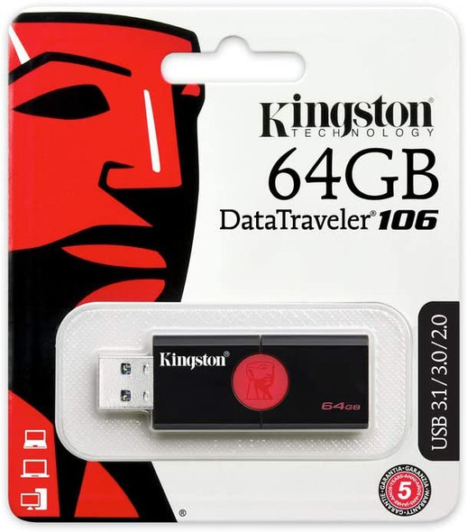 Kingston DT106/64GB USB 3.0 DataTraveler 106 Flash Drive Type-A USB Memory Stick backwards compatible with 2.0 USB up to 100 MB/s