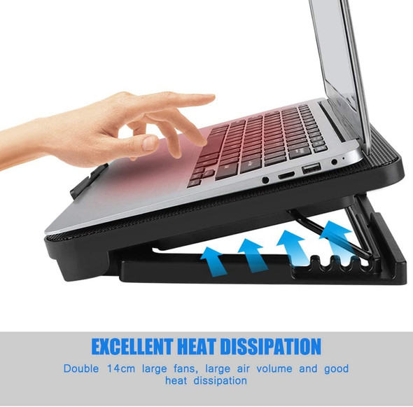 Cooling Pad Portable - N99 2 Fans Laptop Cooler Slim USB Powered External Fans with Bracket
