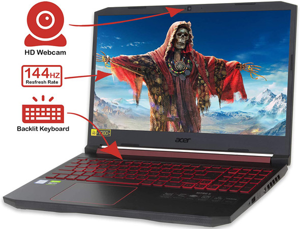 "Acer Nitro 5 ( NH.Q96AA.003 ) Gaming Laptop, 15.6"" FHD Display, Intel Core i7-9750H Upto 4.5GHz, 8GB RAM, 256GB NVMe SSD, NVIDIA GeForce RTX 2060, HDMI, Wi-Fi, Bluetooth, Windows 10 Home"