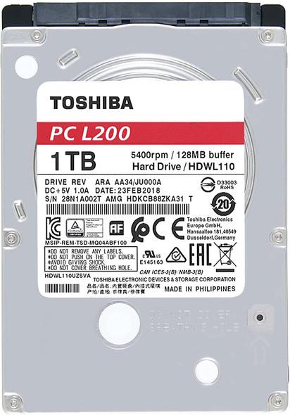 Toshiba HDWL110XZSTA L200 1TB Laptop PC Internal Hard Drive 5400 RPM SATA 6Gb/s 128 MB Cache 2.5 inch 7.0mm Height