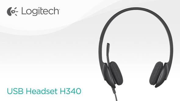 Logitech USB Headset H340, Stereo, USB Headset for Windows and Mac - Black