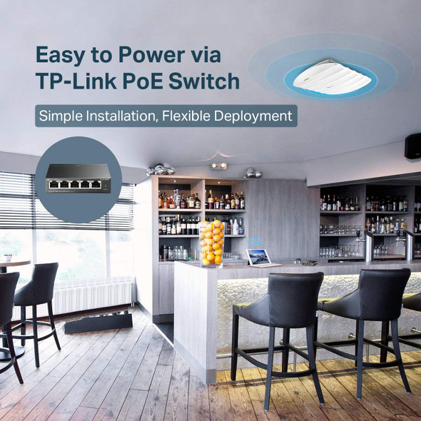 TP-Link Omada AC1350 Gigabit Ceiling Mount Wireless Access Point   MU-MIMO, Seamless Roaming & Beamforming   PoE Powered w/PoE Injector Included   Centralized Cloud Access & Free Omada app ( EAP225 ) Your image was added to the product.