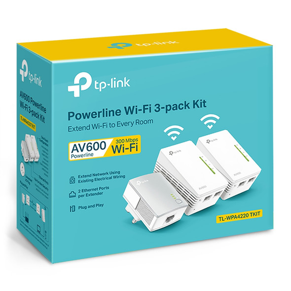 TPLINK TL-WPA4220T KIT Powerline 600 Wi-Fi 3-pack Kit
