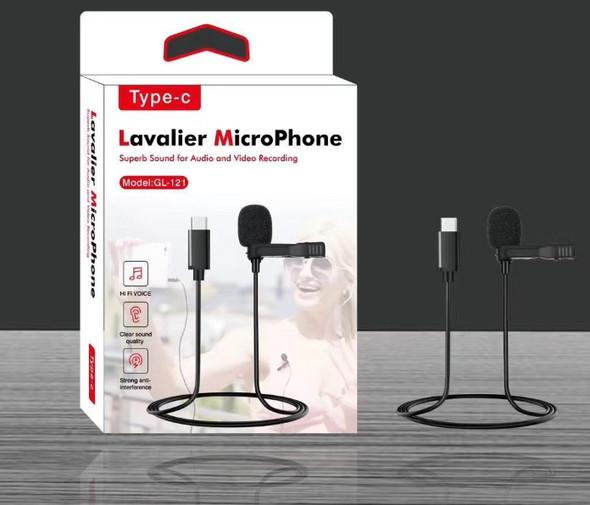 Type-C Microphone Micro-Cravate Mic Lavalier Single Mic -Black