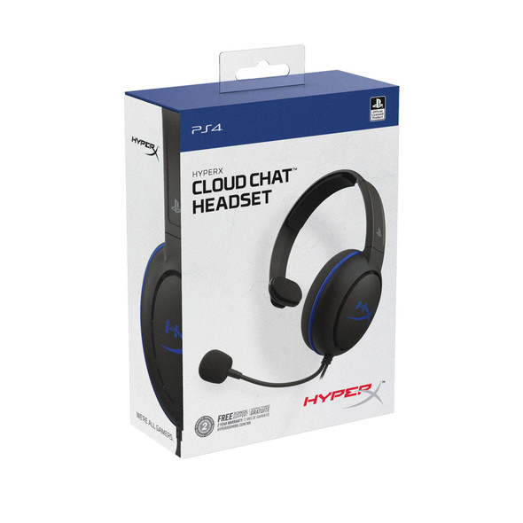 HyperX Cloud Chat Headset – Official Playstation Licensed for PS4, Clear Voice Chat, 40mm Driver, Noise-Cancellation Microphone, Pop Filter, in-Line Audio Controls, Lightweight, Reversible