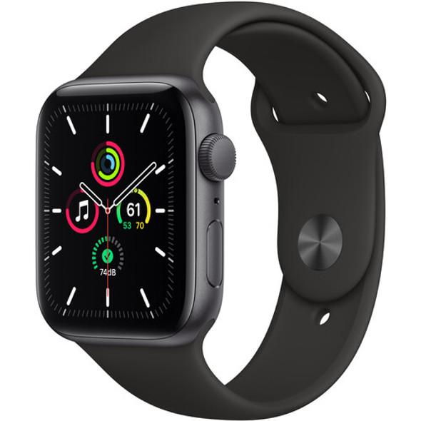 Apple Watch SE MYDT2LL (GPS, 44mm, Space Gray Aluminum, Black Sport Band)
