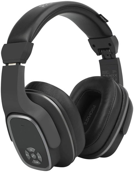 Promate Wireless Headphone with Speaker, 2-in-1 High Definition Bluetooth v5.0 Headphone with Built-in 6W Speaker, Mic, 12H Playtime, MicroSD Card Slot, FM Radio and AUX Port, Corvin Black