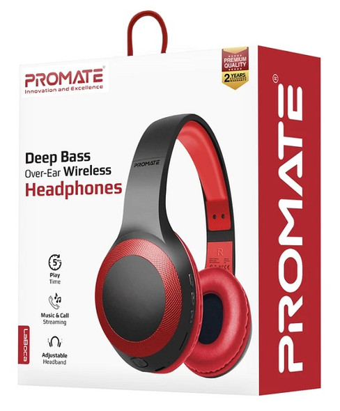 Promate LABOCA RED Wireless Headphone, Powerful Deep Bass Bluetooth v5.0 Headphone with MicroSD Playback, 3.5mm Wired Mode, Hi-Fi Stereo Sound, 5H Playtime, Built-In Mic and Control for Smartphones, LaBoca