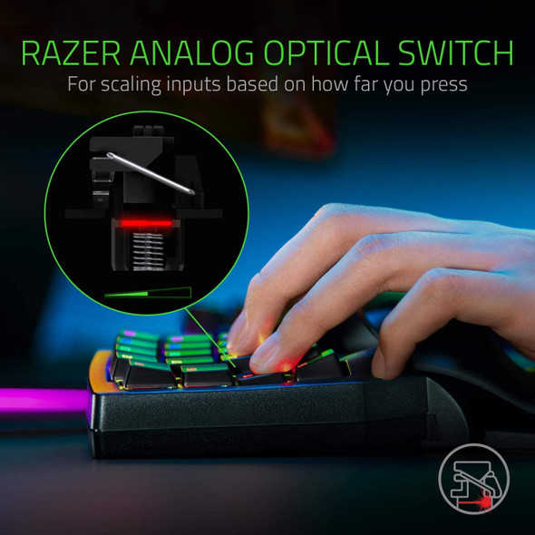 Razer Tartarus Pro Gaming Keypad: Analog-Optical Key Switches - 32 Programmable Keys - Customizable Chroma RGB Lighting - Programmable Macros - Variable Key Press Pressure Sensitivity - RZ07-03110100-R3M1