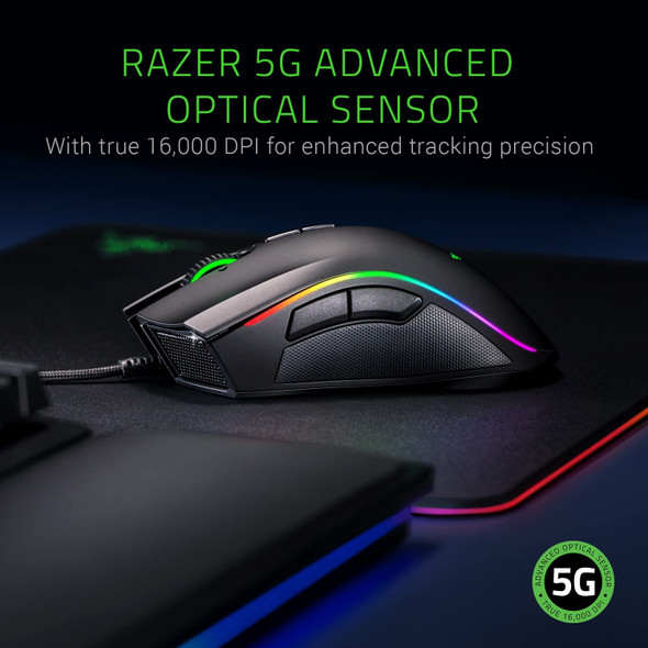 Razer Mamba Elite Wired Gaming Mouse: 16,000 DPI Optical Sensor - Chroma RGB Lighting - 9 Programmable Buttons - Mechanical Switches - RZ01-02560100-R3M1
