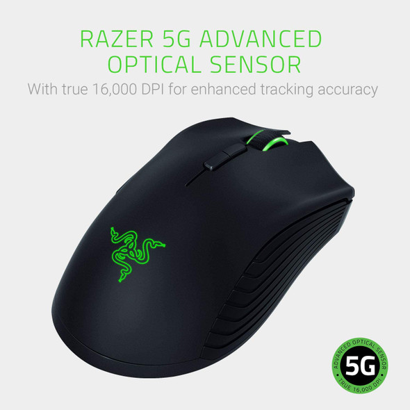 Razer Mamba Wireless Gaming Mouse: 16,000 DPI Optical Sensor - Chroma RGB Lighting - 7 Programmable Buttons - Mechanical Switches - Up to 50 Hr Battery Life - RZ01-02710100-R3M1