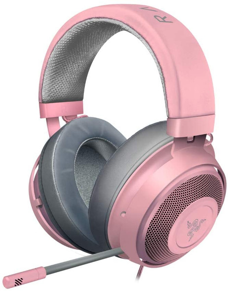 Razer Kraken - Wired Gaming Headset for Multiplatform Gaming for PC, PS4, Xbox One and Switch, 50 mm Diaphragm, 3.5 mm Cable with Line Controls - Quartz / Pink - RZ04-02830300-R3M1