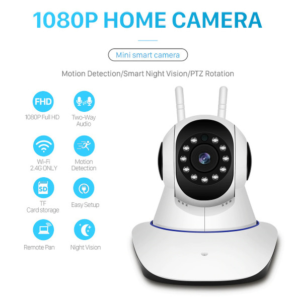 P2P Wireless IP Camera, WiFi Home Security Surveillance Camera for ,Two-Way Audio & Night Vision 2 ANTENNA
