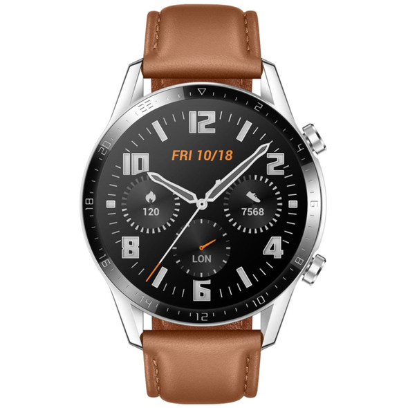 HUAWEI Watch GT2 Bluetooth Smart Watch, Longer Lasting 2 Weeks Battery Life, Waterproof, Compatible with iPhone and Android, 46mm ( BROWN )