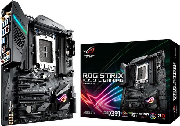 ASUS ROG STRIX X399-E GAMING AMD Ryzen Threadripper TR4 DDR4 M.2 U.2 X399 EATX HEDT Motherboard with onboard 802.11AC WiFi, USB 3.1 Gen2, and AURA Sync RGB Lighting