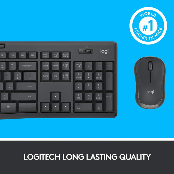 Logitech MK295 Wireless Mouse & Keyboard Combo with SilentTouch Technology, Full Numpad, Advanced Optical Tracking, Lag-Free Wireless, 90% Less Noise - Graphite
