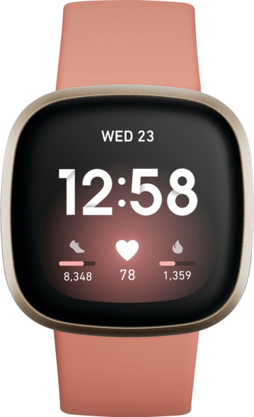 Fitbit - Versa 3 Health & Fitness Smartwatch - Soft Gold Model:FB511GLPK (811138039806)