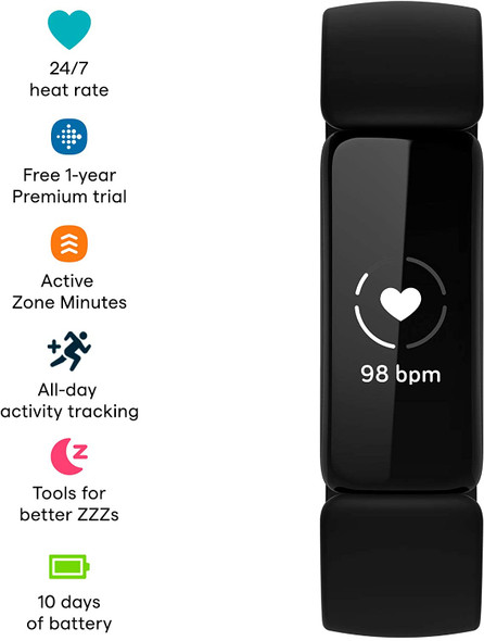 Fitbit Inspire 2 Health & Fitness Tracker with a Free 1-Year Fitbit Premium Trial, 24/7 Heart Rate, Black/Black (810038852775)