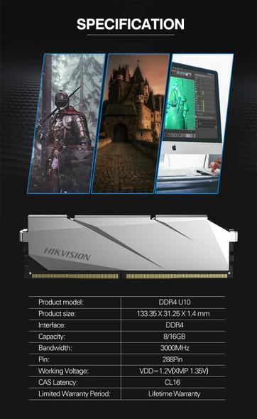 HIKVISION RAM 8GB / 16GB DDR4 3000MHz- For Desktop