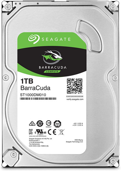Seagate BarraCuda 1TB Internal Hard Drive HDD – 3.5 Inch SATA 6 Gb/s 7200 RPM 64MB Cache for Computer Desktop PC (ST1000DM010) (AC1CSSB2)