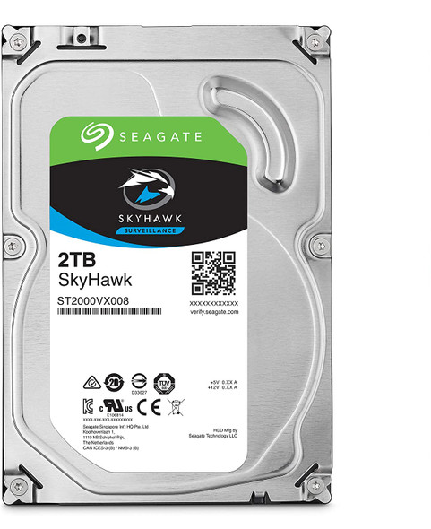 Seagate SkyHawk 2TB Surveillance Internal Hard Drive HDD – 3.5 Inch SATA 6Gb/s 64MB Cache for DVR NVR Security Camera System with Drive Health Management   ST2000VX008 (AC1CSSS2)