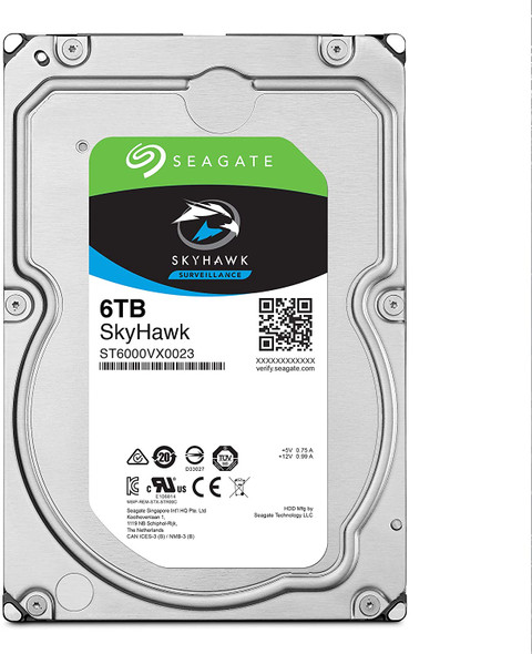 Seagate Skyhawk 6TB Surveillance Internal Hard Drive HDD – 3.5 Inch SATA 6GB/s 256MB Cache for DVR NVR Security Camera System with Drive Health Management | ST6000VX001 (AC1CSSS4)