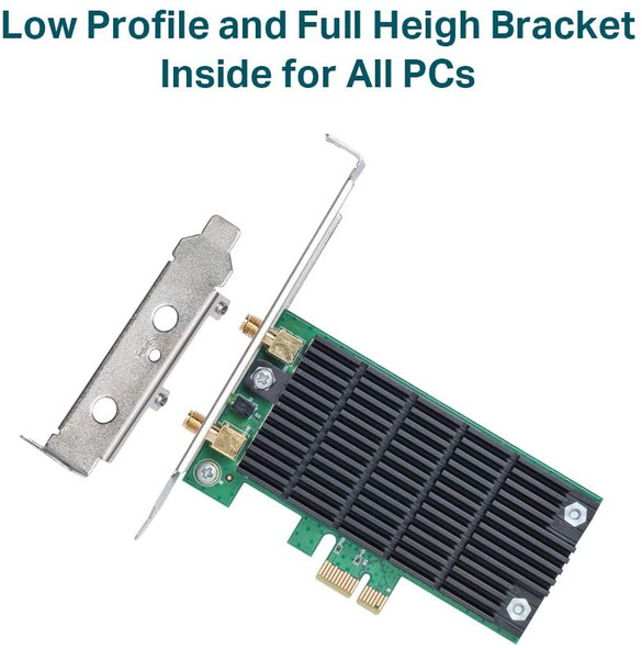 TP-Link AC1300 PCIe WiFi PCIe Card(Archer T6E)- 2.4G/5G Dual Band Wireless PCI Express Adapter, Low Profile, Long Range, Heat Sink Technology, Supports Windows 10/8.1/8/7/XP (6935364092559)