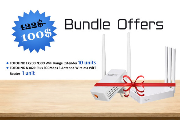 Bundle Offer A04 | 10 units TOTOLINK EX200 N300 WiFi Range Extender + 1 unit TOTOLINK N302R Plus 300Mbps 3 Antenna Wireless WiFi Router (AC1BLT01)