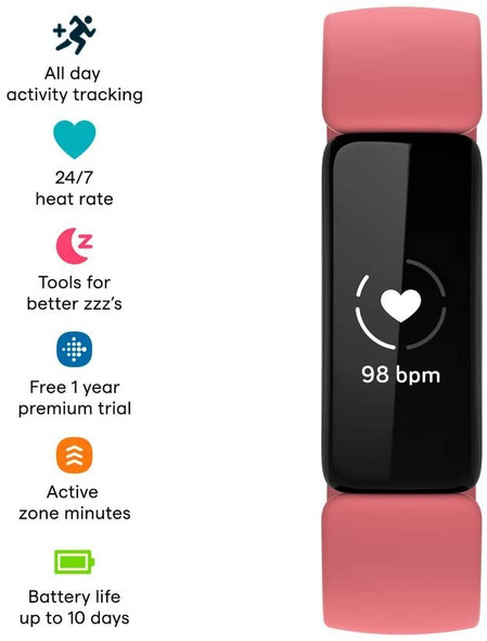 Fitbit Inspire 2 Health & Fitness Tracker with a , 24/7 Heart Rate, Black/Rose | FB418BKCR