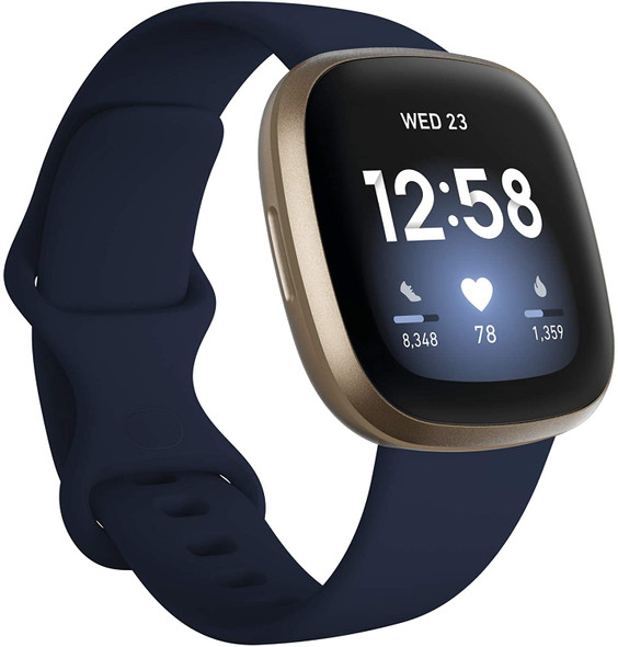 Fitbit Versa 3 Health & Fitness Smartwatch with GPS, 24/7 Heart Rate, Alexa Built-in, 6+ Days Battery, Midnight Blue/Gold (811138039769)
