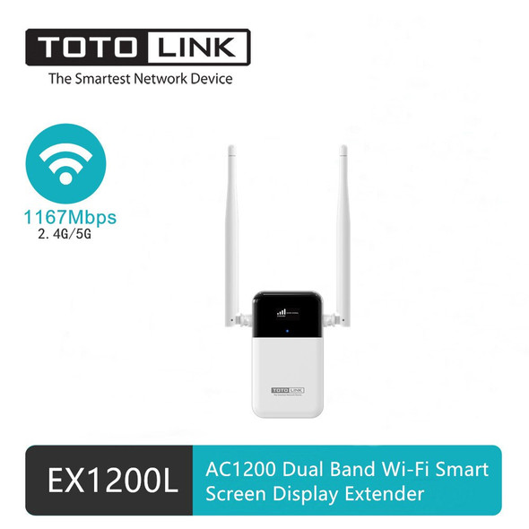 TOTOLINK EX1200L | WiFi Range Extender | AC1200, Dual Band, 1x RJ45 100Mb/s, OLED display