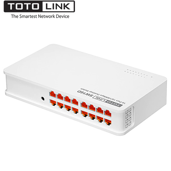 TOTOLINK 16 Ports 10/100 Fast Ethernet Unmanaged Network Switch, Ethernet Splitter, Ethernet Hub, Plug and Play, Fanless, Quiet ( SW16D ) (6952887401507)