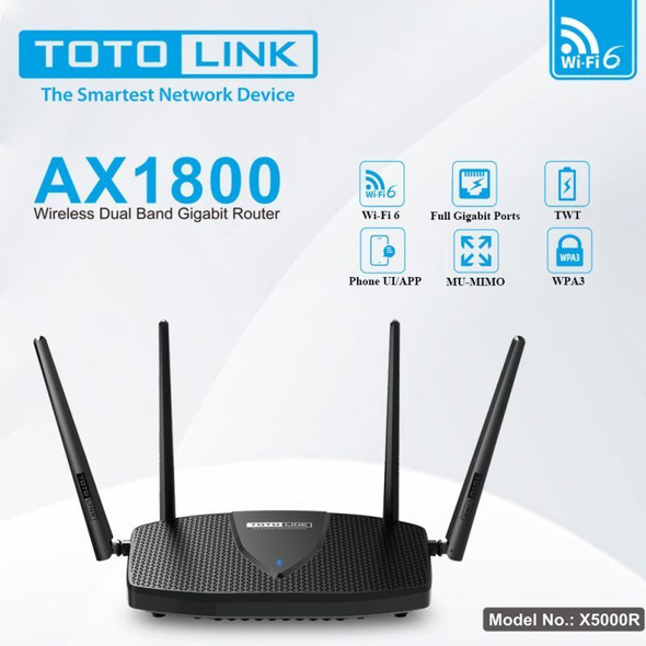 Totolink X5000R | WiFi Router | AX1800 Dual Band, 5x RJ45 1000Mb/s