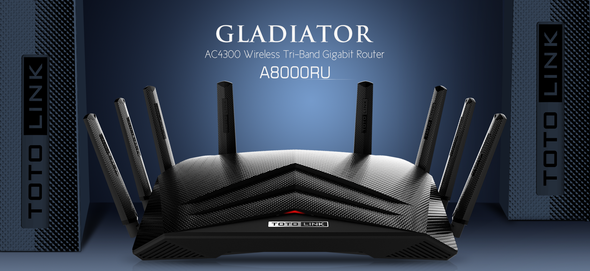 TOTOLINK A8000RU Wireless Gaming Router AC4300 Tri-band Gigabit Router 8*5dBi antennas USB3.0 Port (6952887401729)