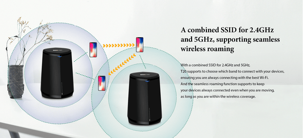 TOTOLINK T20 1-Pair MESH Wifi Router 3000Mbps Home Wireless Coverage System W/ USB Port