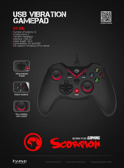 MARVO SCORPION GT-016 USB, VIBRATION GAMEPAD FOR PC & PS3