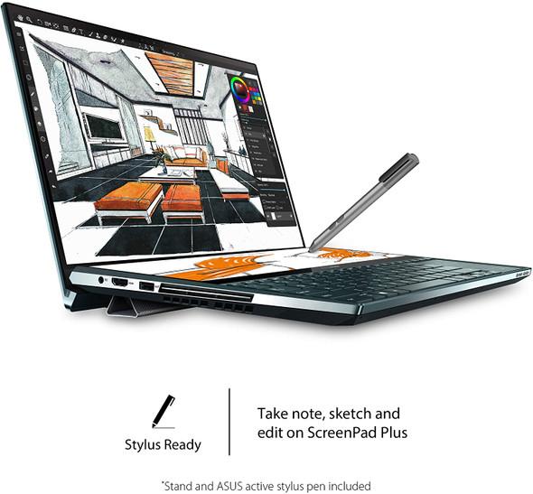 "ASUS ZenBook Duo UX481 Laptop, 14"" FHD NanoEdge Bezel Touch, Intel Core i7-10510U, GeForce MX250, 16GB RAM, 1TB PCIe SSD, Innovative ScreenPad Plus, Windows 10 Pro, Celestial Blue, UX481FL-XS74T (10002011)"
