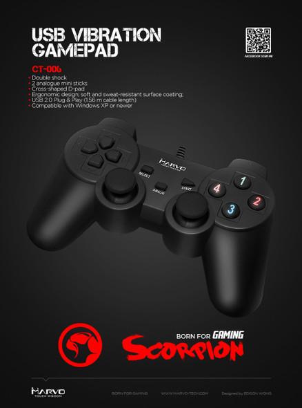 MARVO SCORPION GT-006 USB, VIBRATION GAMEPAD FOR PC
