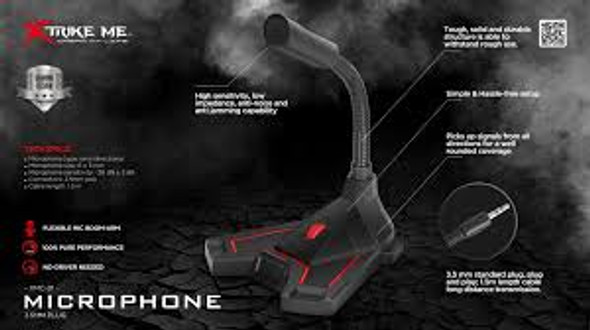 Xtrike Me Gaming Microphone 3.5mm jack, High Sensitivity, Anti Noise, Ideal for Gaming, Recording, Streaming (XMC-01)